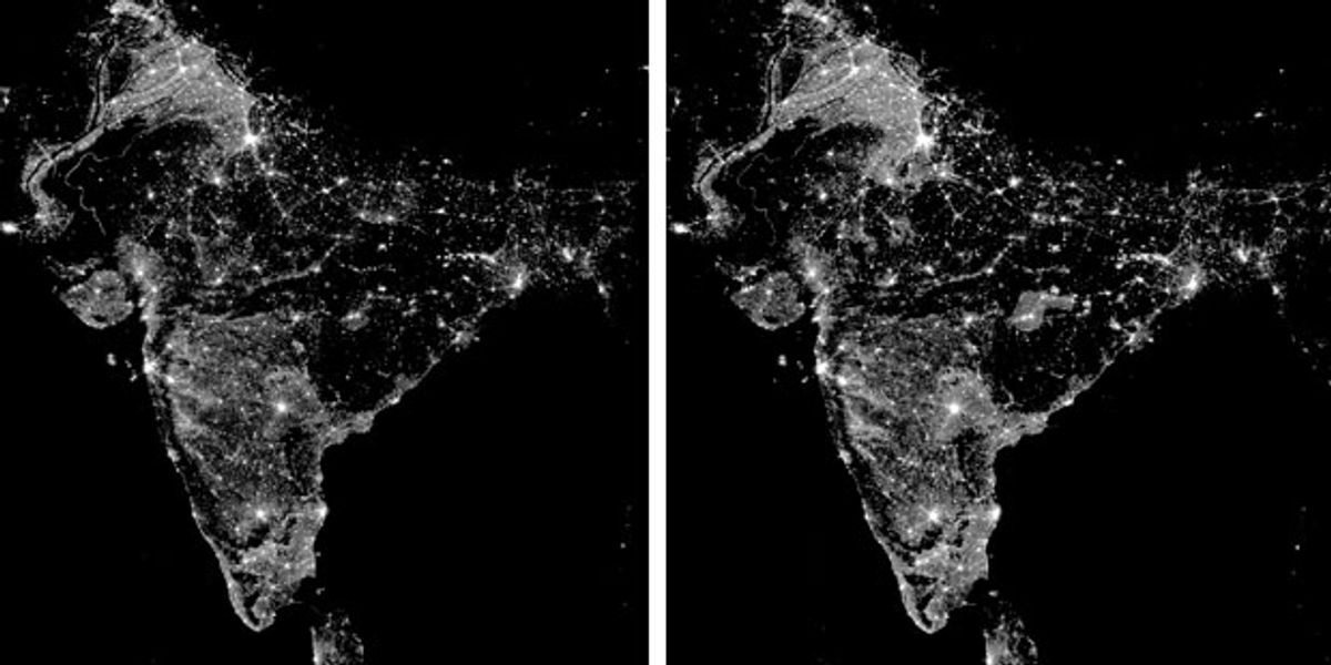 A satellite image of India at night shows the reach of electricity