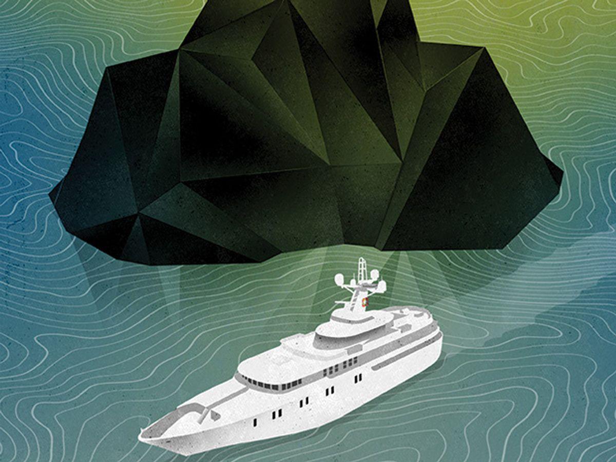 Illustration of two ships near iceberg