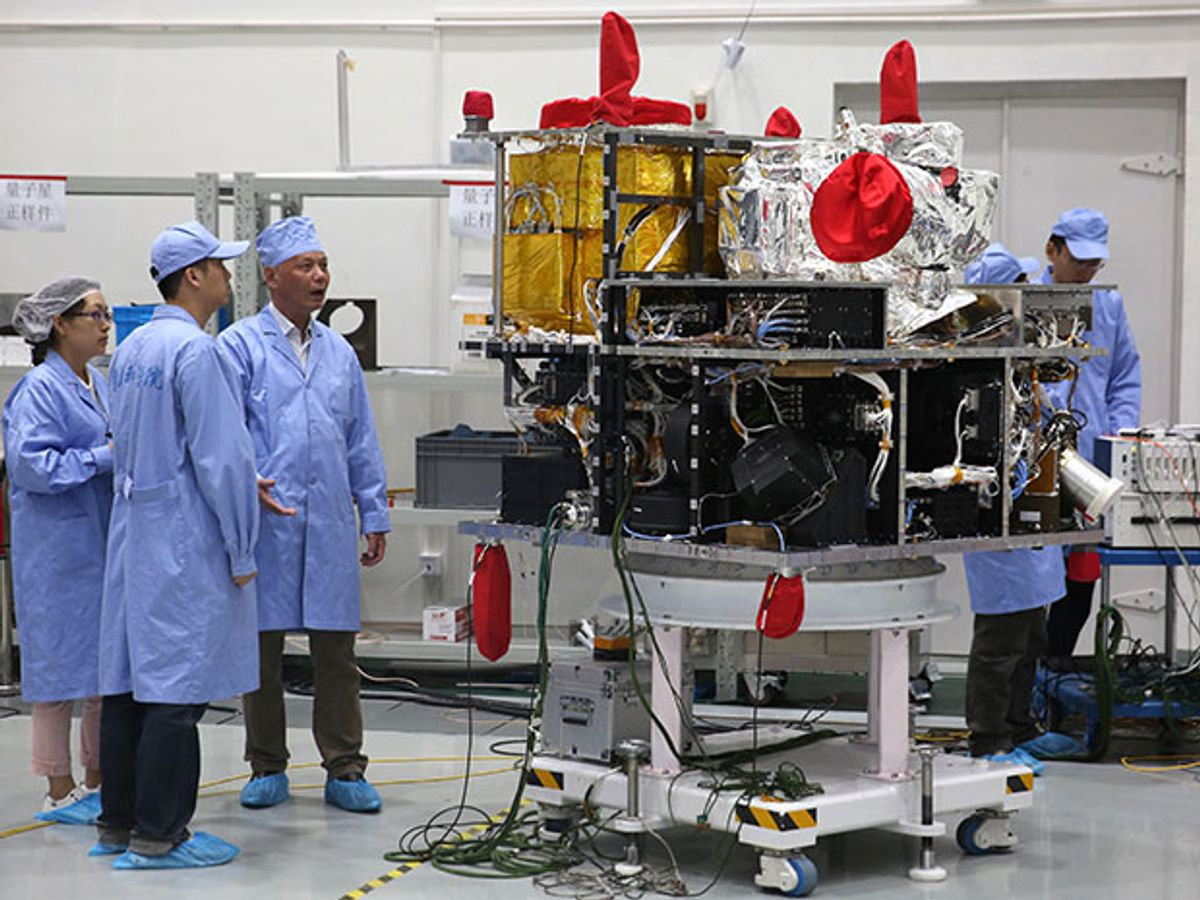 A view of QUESS at the Shanghai Engineering Center for Microsatellites in May