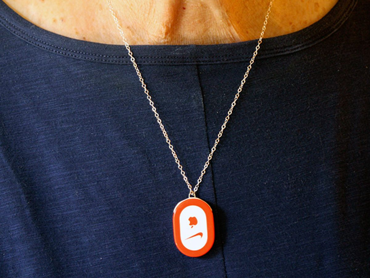 My mother could wear the tiny transmitter on a chain around her neck.