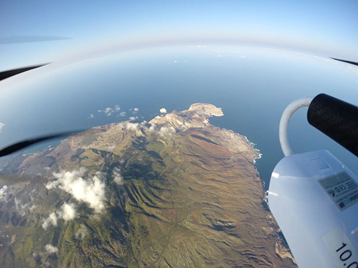 A view of Ascension Island from a GoPro attached to a UAV