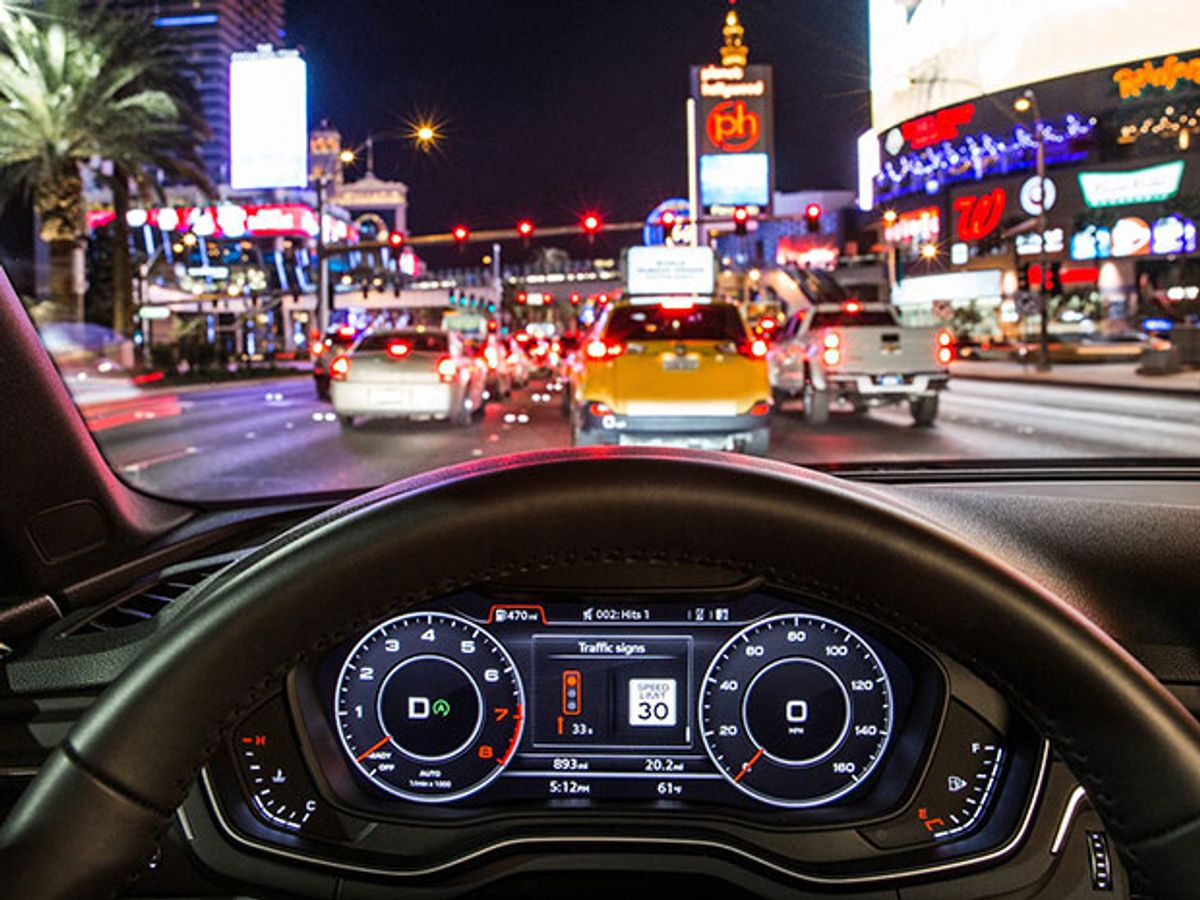 audi waits for a light in las vegas