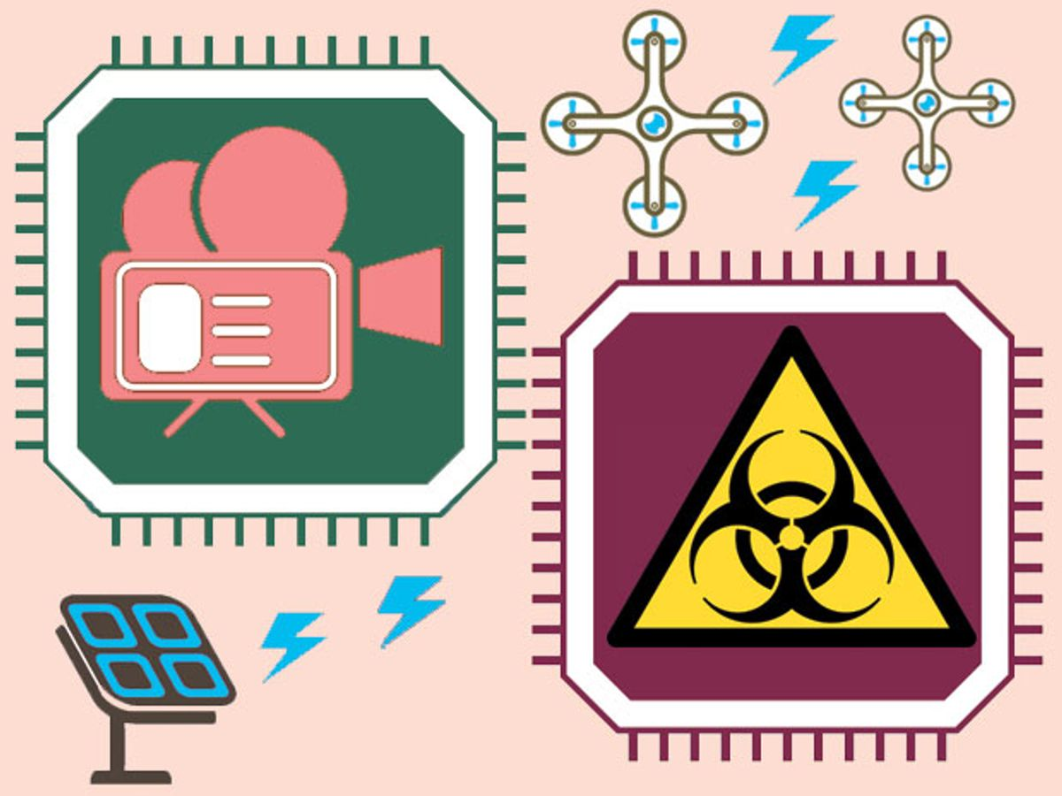 Icons of biohazards, video cameras, and microchips