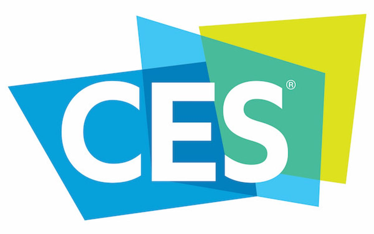 A blue and yellow logo spelling out CES