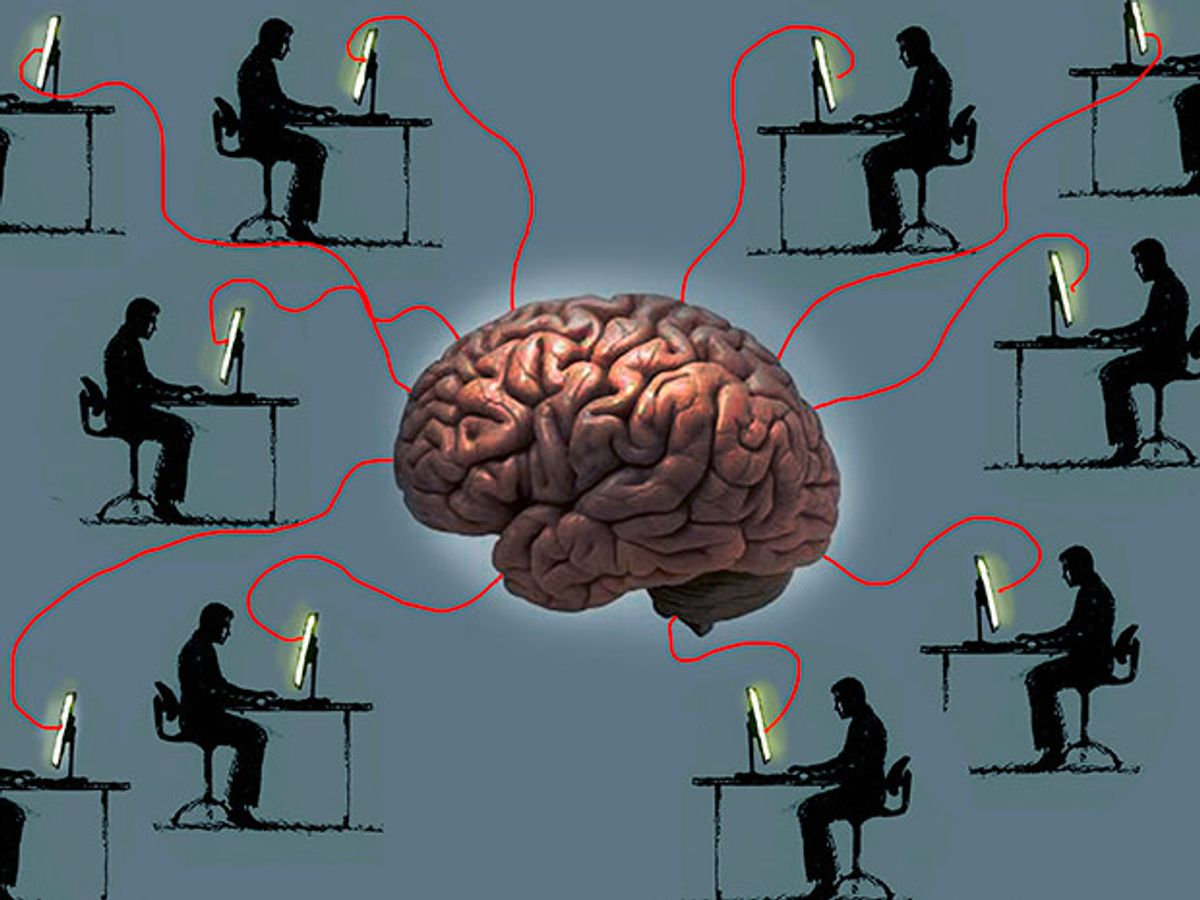 An illustration of a brain linked to multiple computer screens on desktops where people sit is evocative of a MOOC.