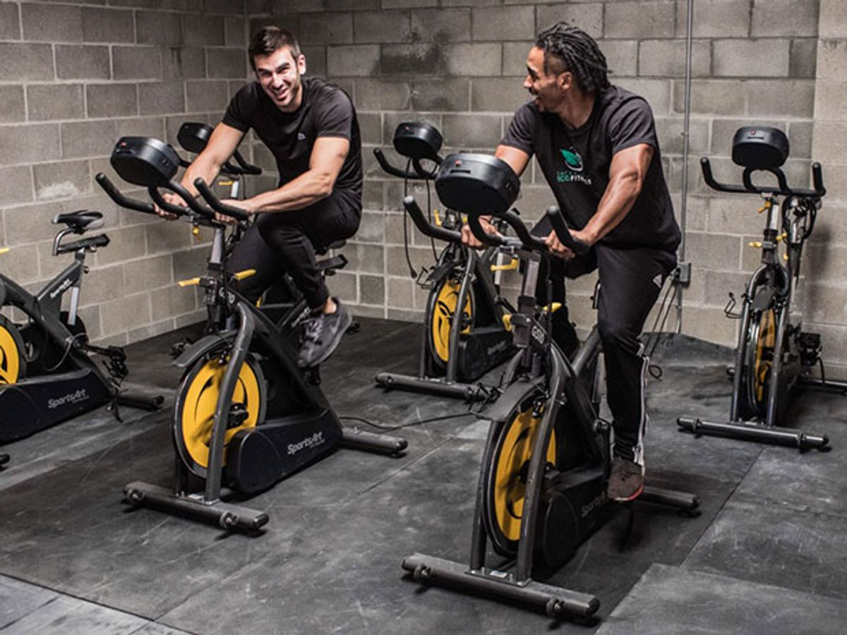 Sacramento Eco Fitness cyclers pedal on SportsArt's ECO-POWR spinning bikes
