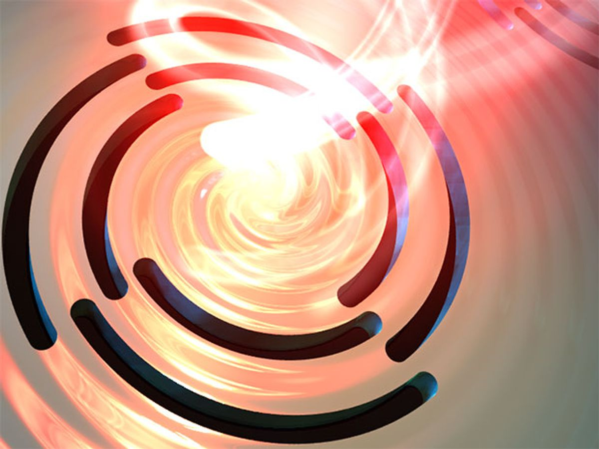 Symbolic image of light interacting with a gold surface with 4-fold symmetric Archimedean spirals: Plasmons with orbital angular momentum are excited and swirl towards the center.
