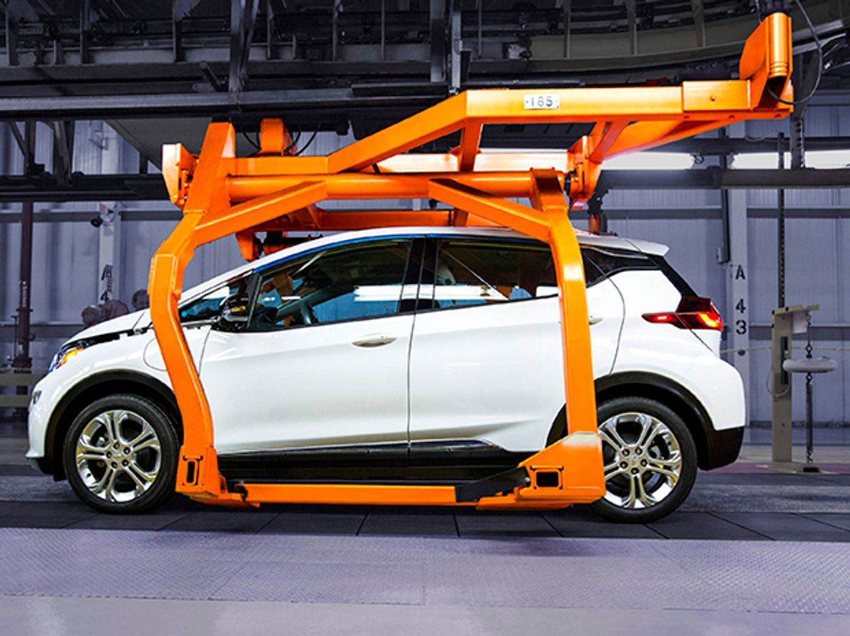 Photo of the Chevy Bolt on assembly line.