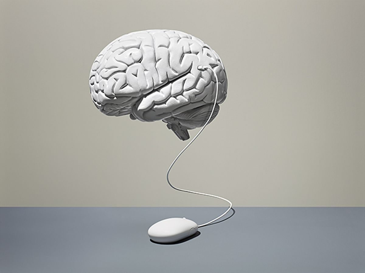 Image of brain with computer mouse.