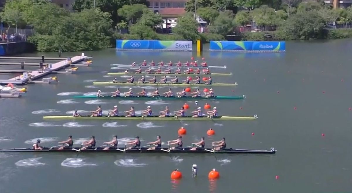 Men's eight rowing final at the Rio 2016 Olympics.