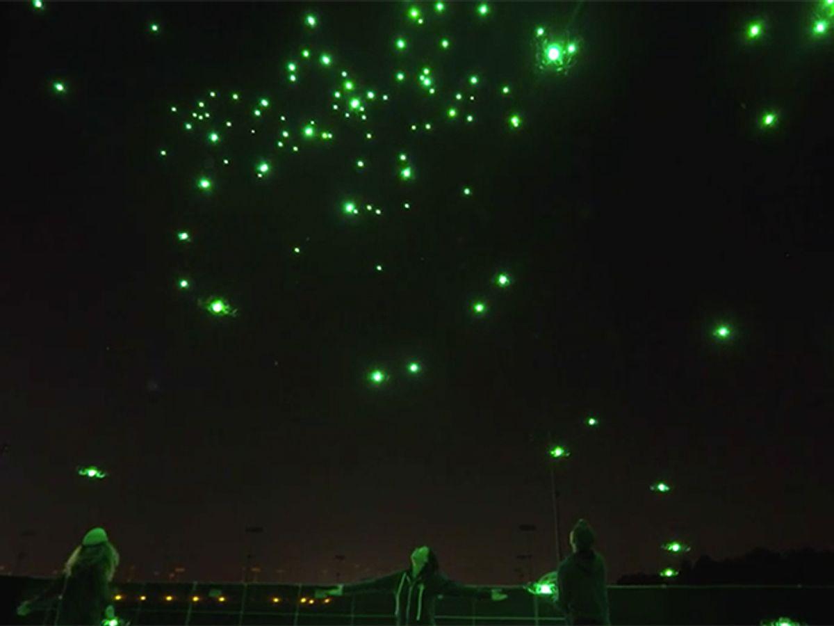 Drones glow like fireflies in a demo of Intel's drone light show technology
