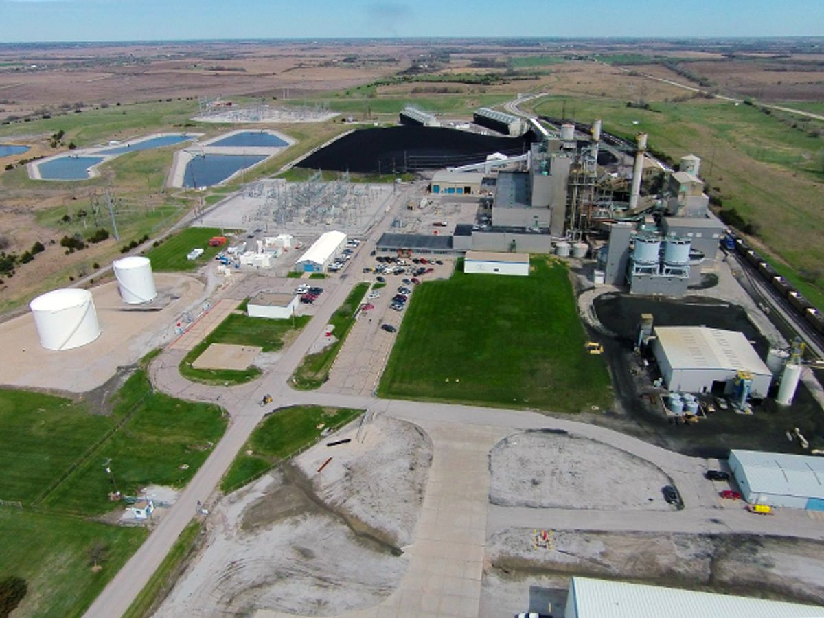 Aerial photo of the Sheldon power plant showing the generating station and its coal yard with rural Nebraska fields extending in the distance.