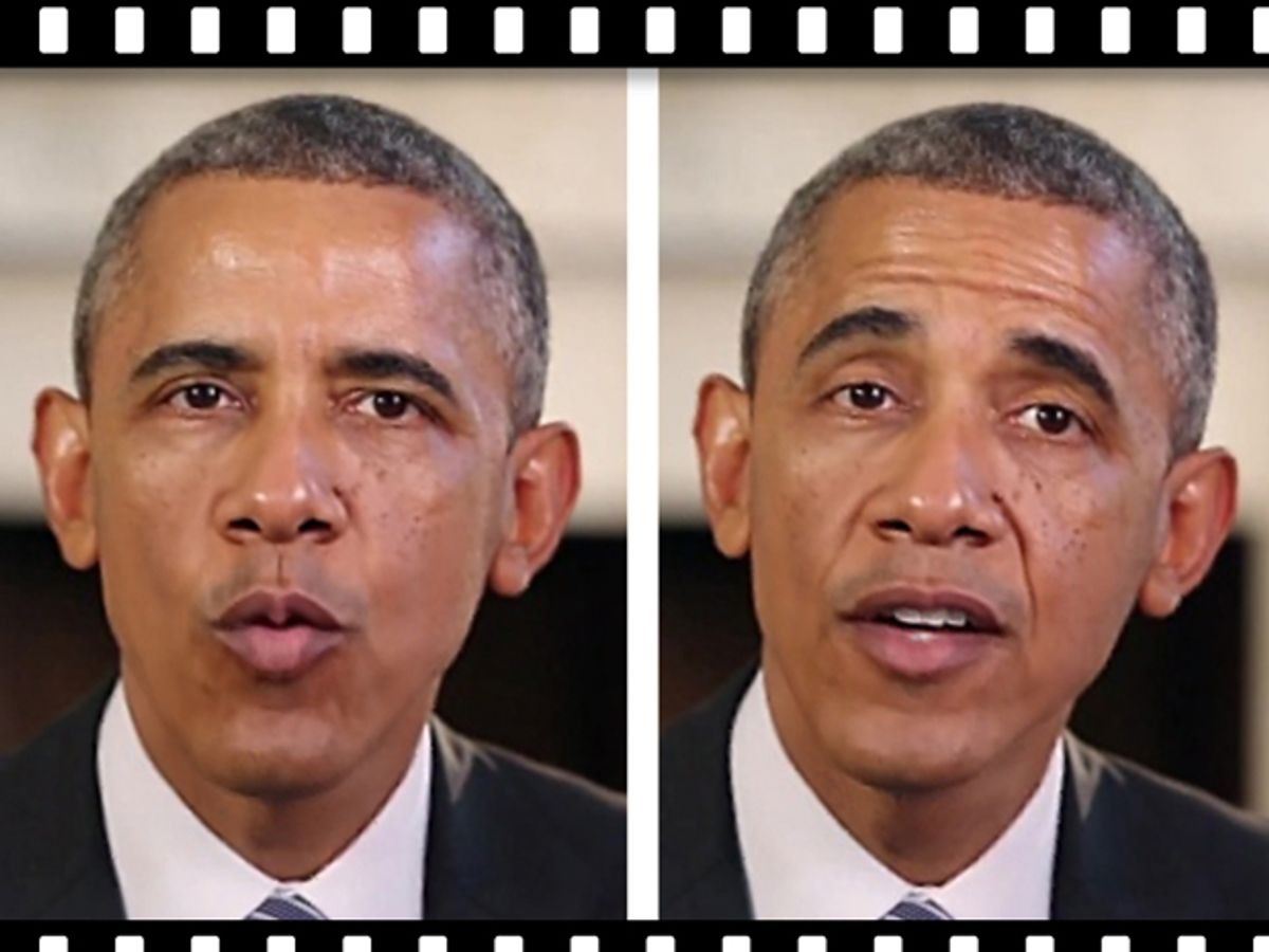 Two pictures of Barack Obama side-by-side