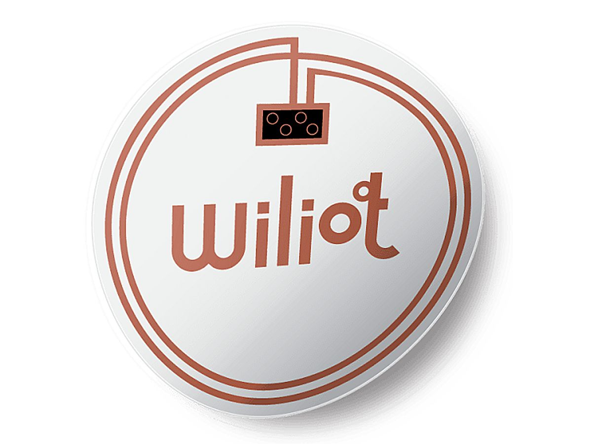 An illustration shows a mockup of Wiliot's no-battery bluetooth beacon, which looks like a flexible red and white button with Wiliot's logo.