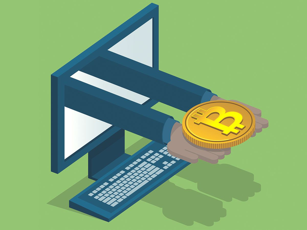 Illustration of hands holding a bitcoin, coming out of a computer.