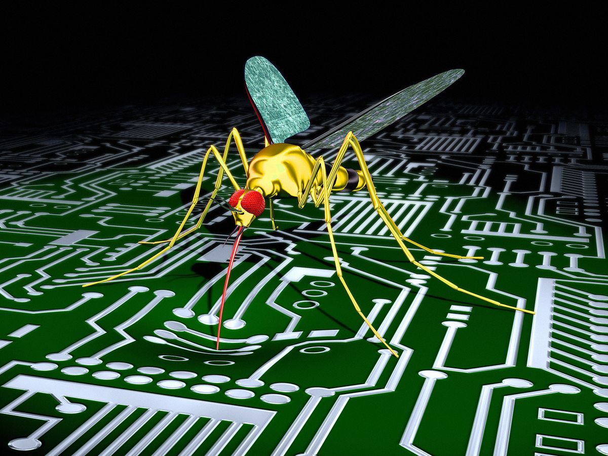 Illustration of a mosquito on a circuit board.