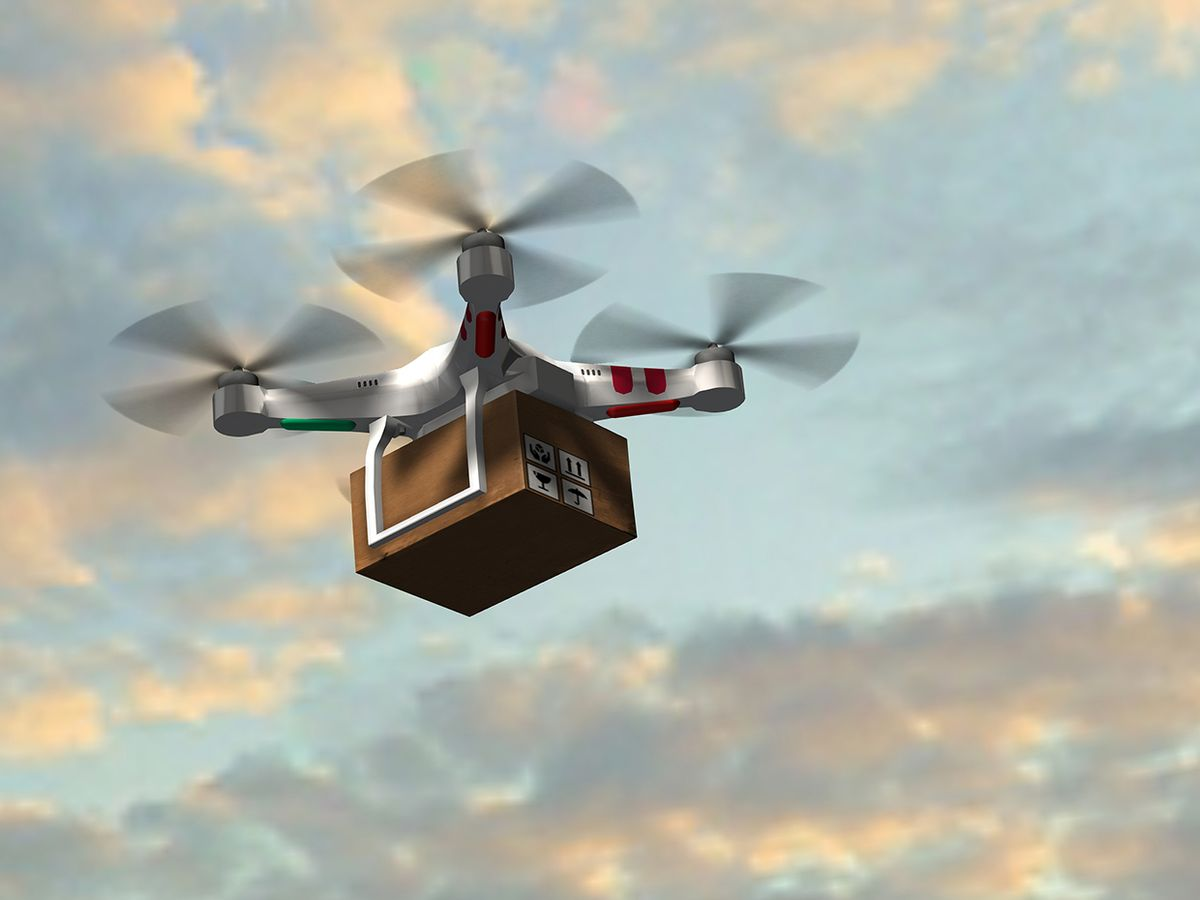 Illustration of a delivery drone.