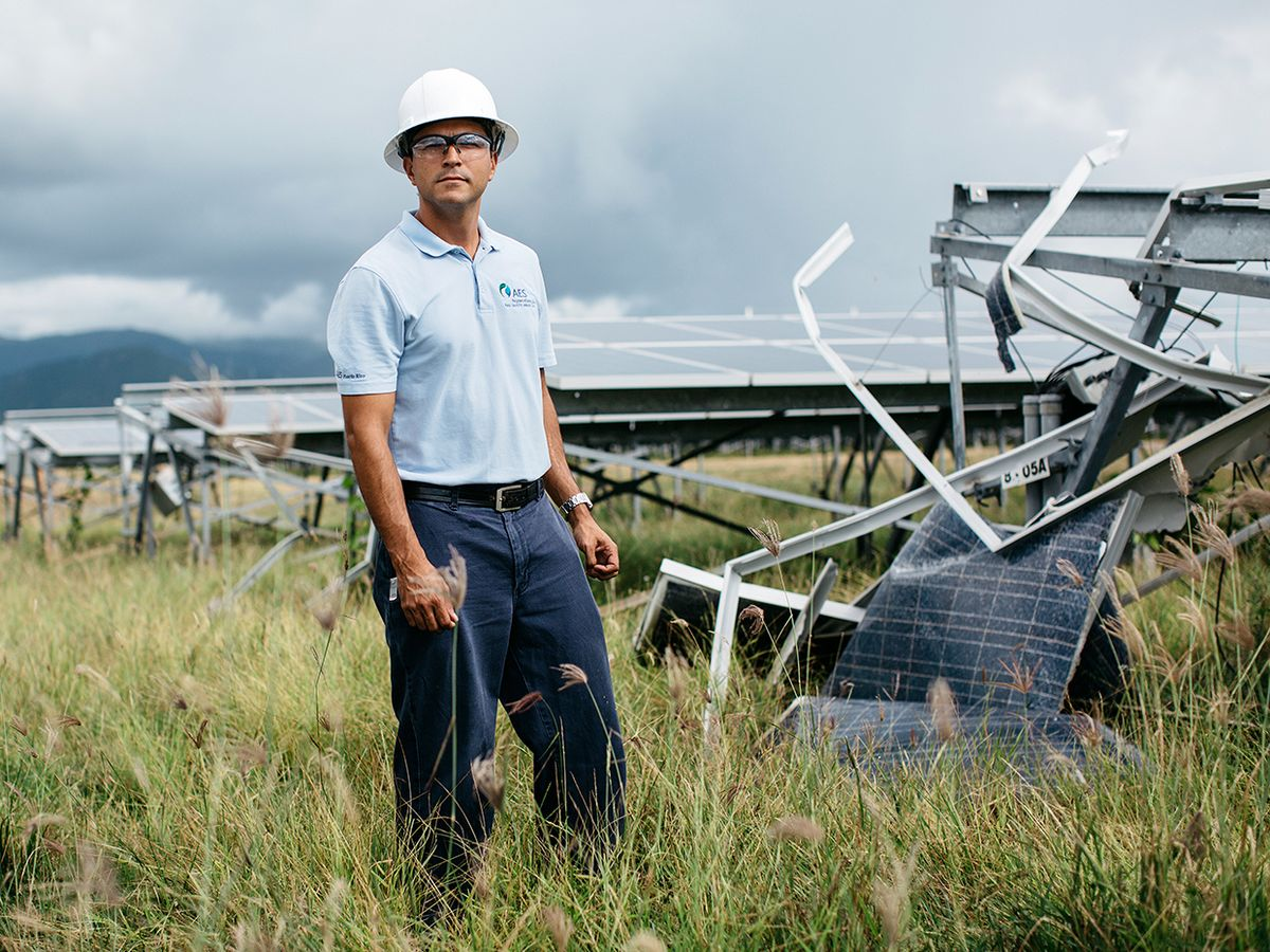 Obed Santos, manager of the AES Illumina solar farm in Guayama.