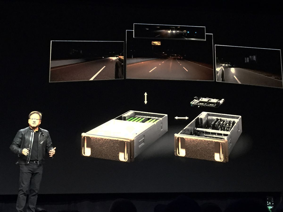 Nvidia CEO Jensen Huang on stage at the GTC 2018 conferenc