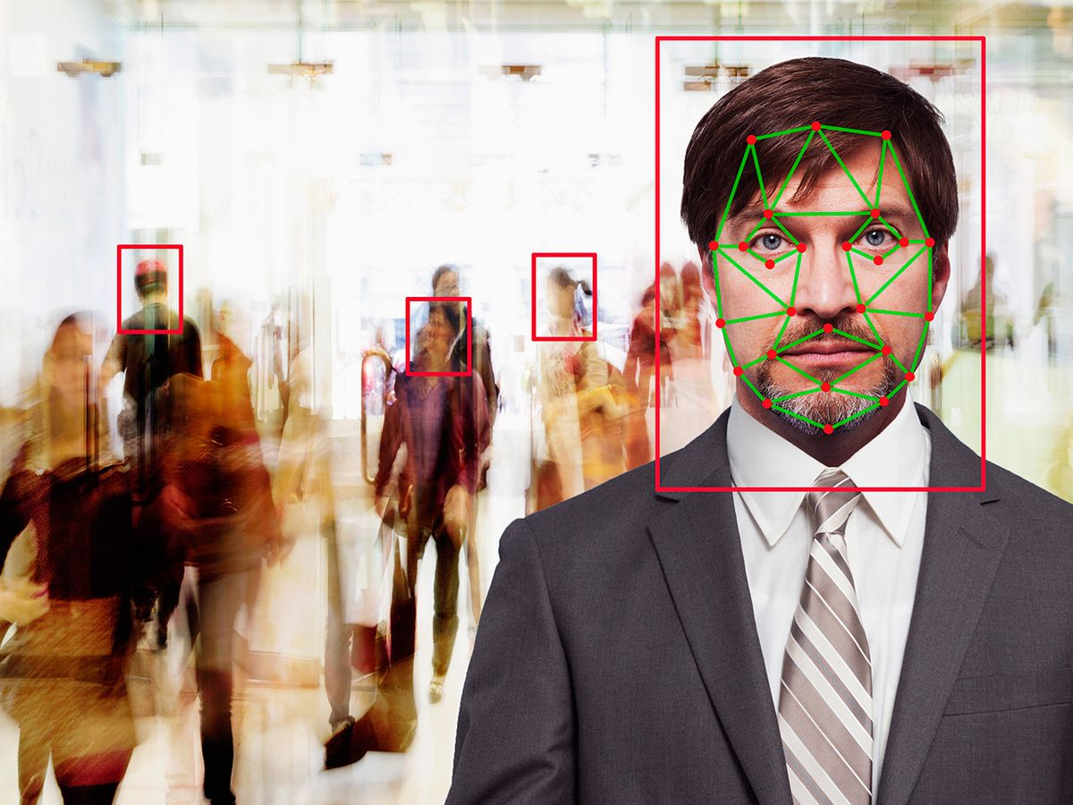 Photo-illustration of facial recognition.