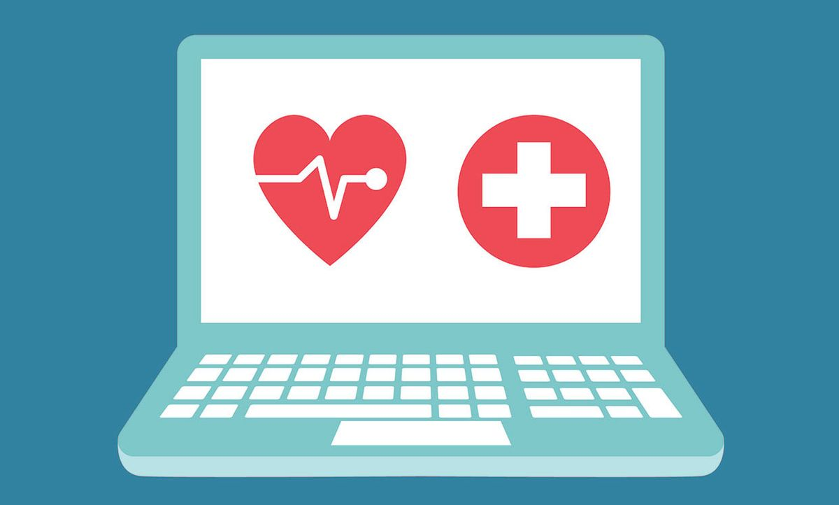Illustration of a computer with medical symbols.