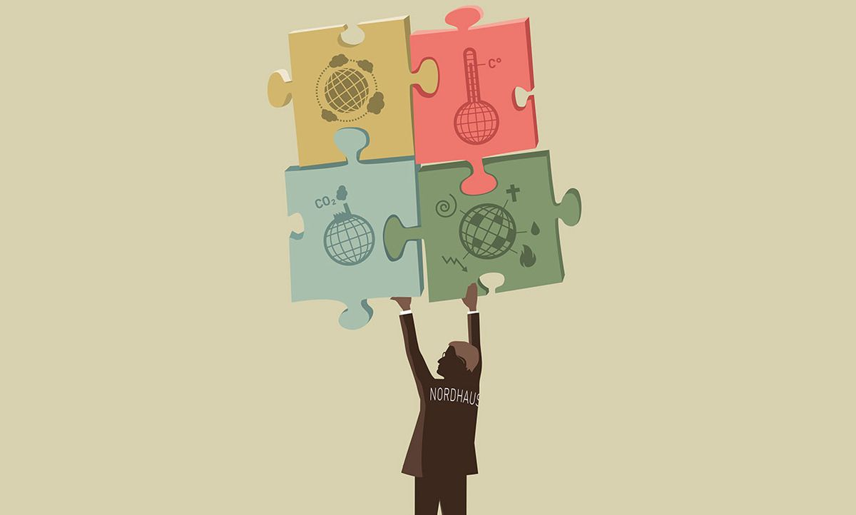 Illustration of William Nordhaus holding up puzzle pieces with text on them.