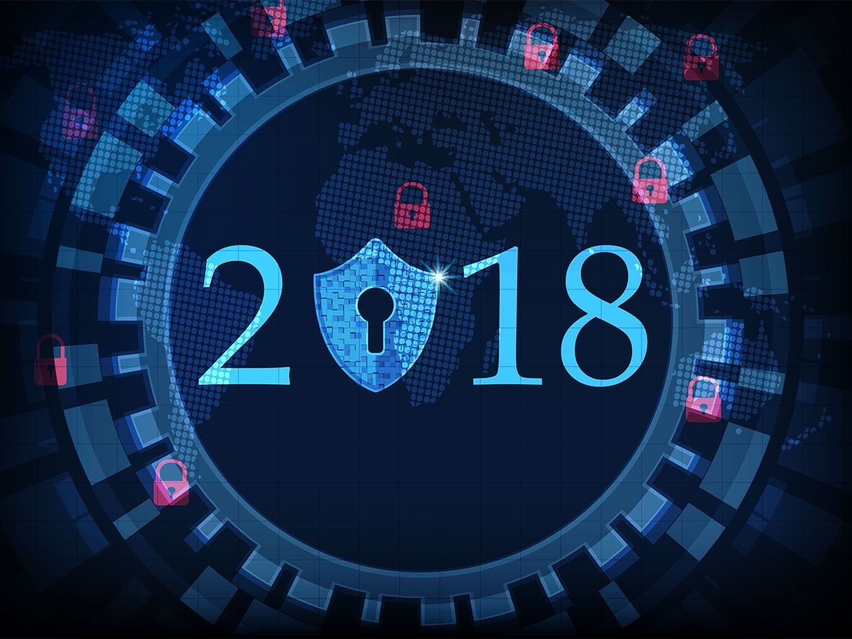Illustration of 2018 and cybersecurity risks.