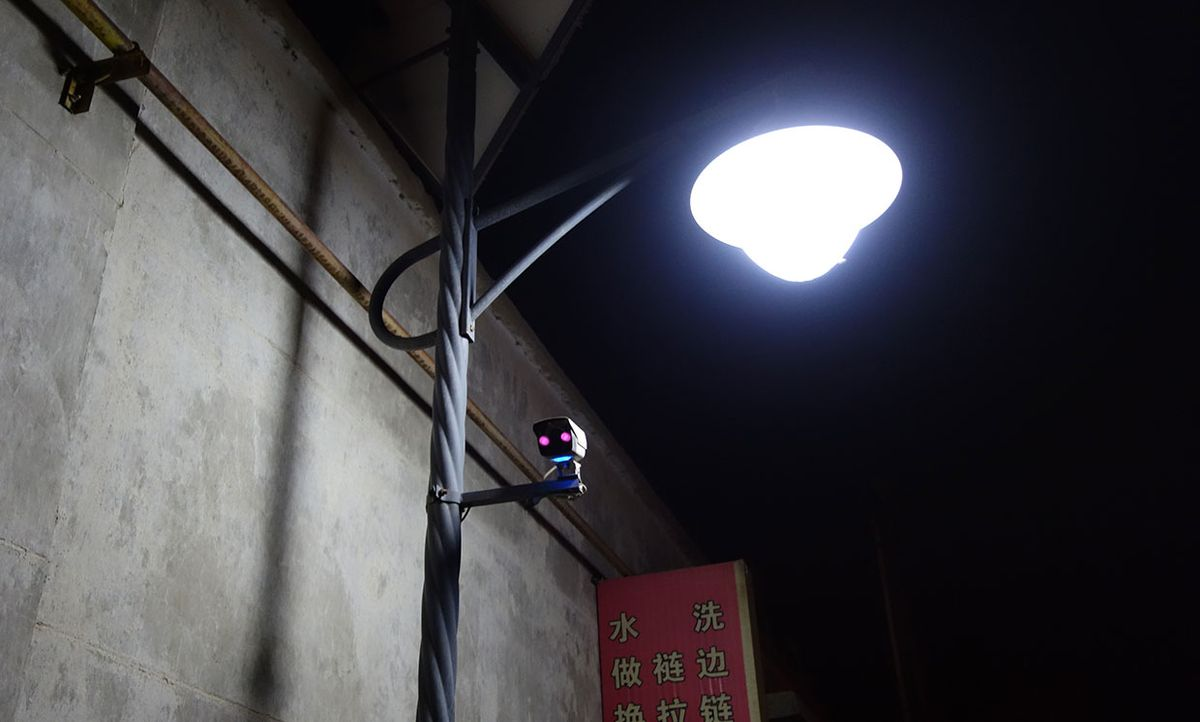 Surveillance camera in a small alley in Dunhuang, in China's Gansu province.