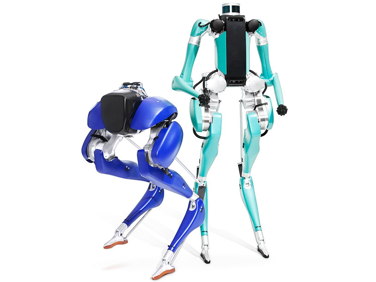 Agility Robotics designed its legged robots Cassie [left] and Digit to move in a more dynamic fashion than regular robots do.