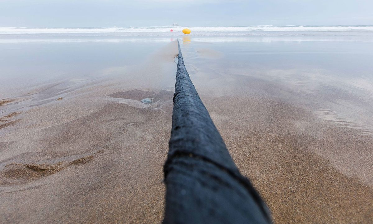 Marea cable running out to ocean