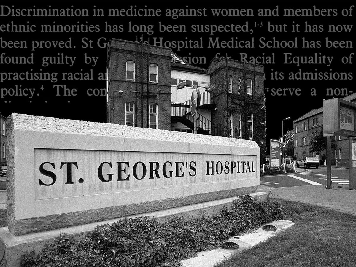 Photo-illustration of the exterior of St. George's Hospital Medical School with text relating to the case.