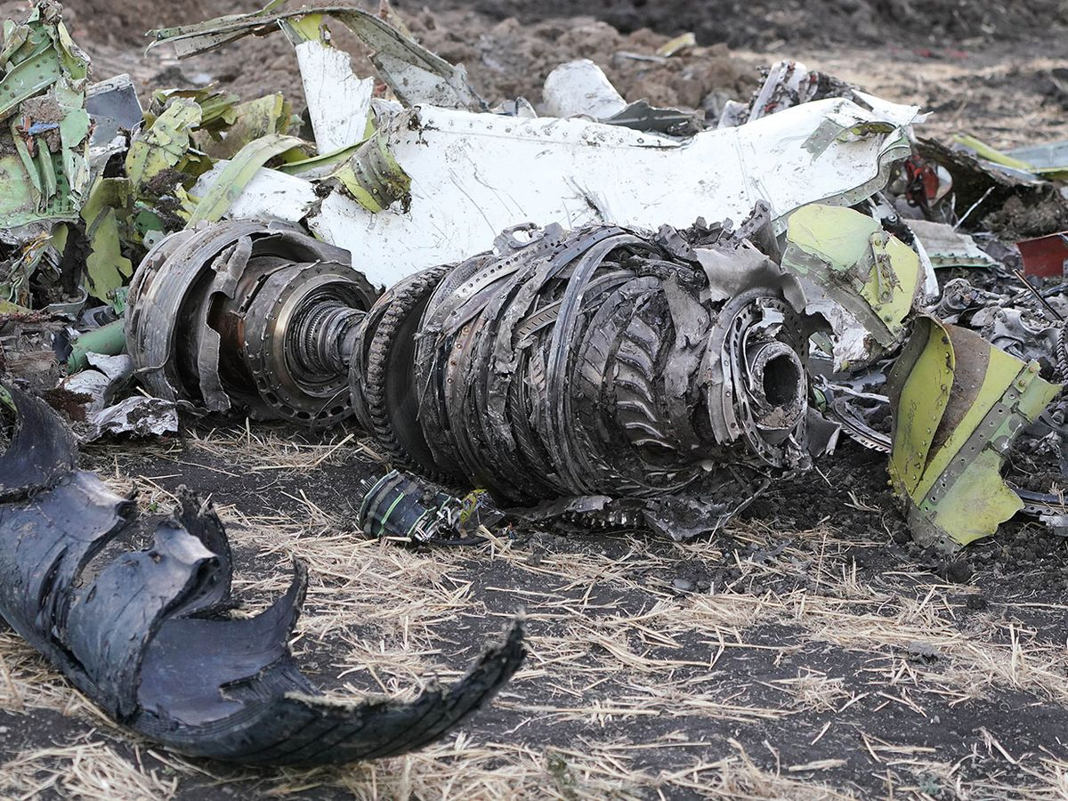 Photo of the crash site showing engine.