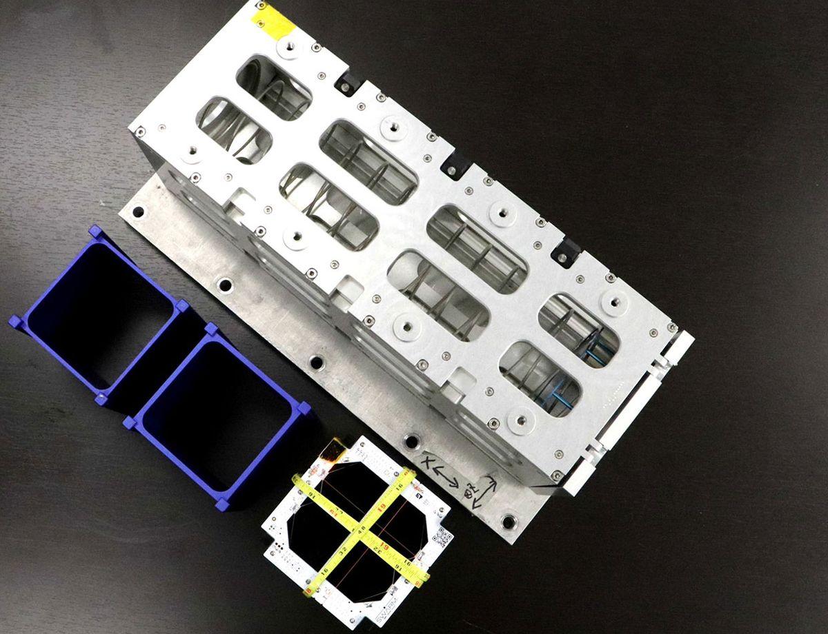 Swarm's latest experimental satellite in a custom dispenser
