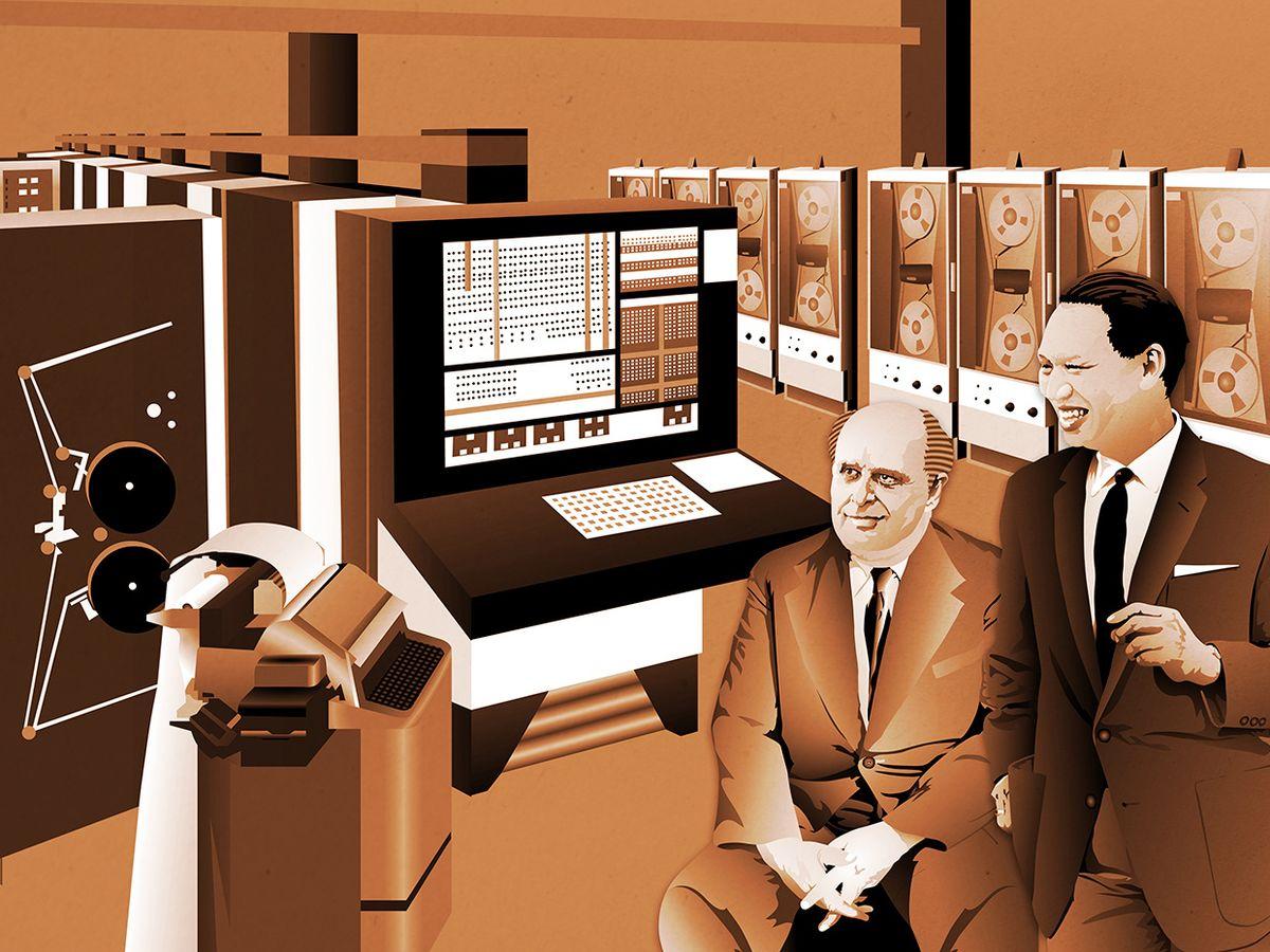 illustration of Adriano Olivetti and Mario Tchou.