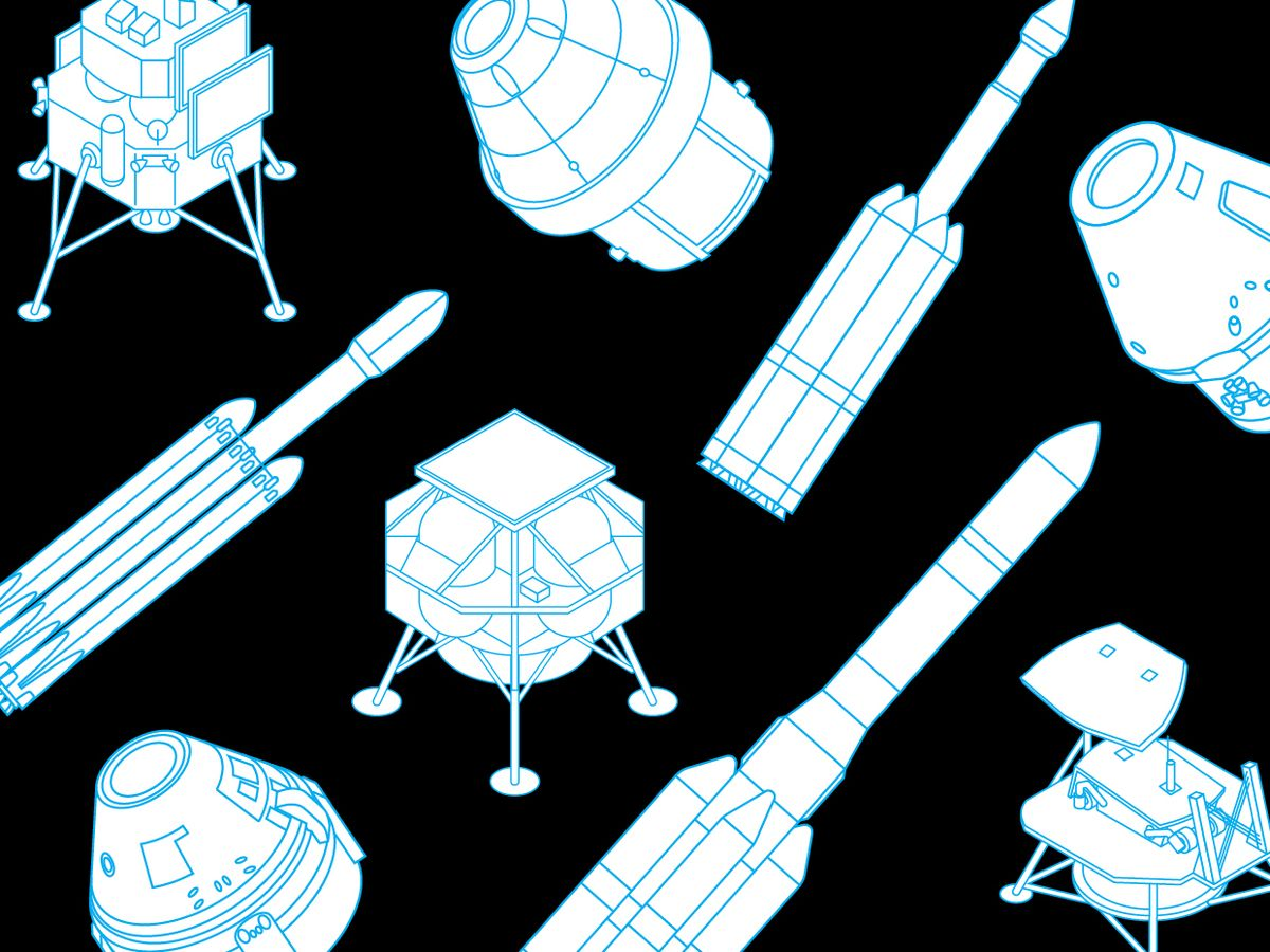 Illustration of moon landers and rockets.