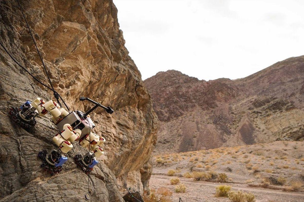 NASA LEMUR robot climbing a rock wall