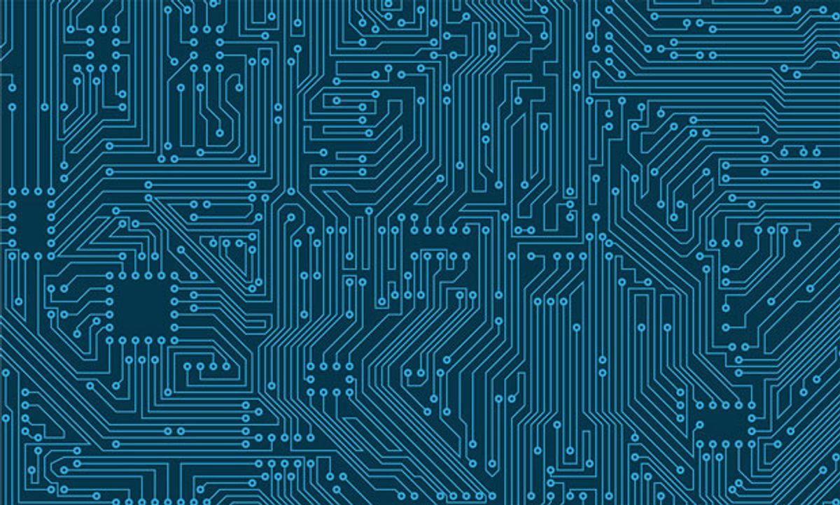 Abstract illustration of the workings of a microchip