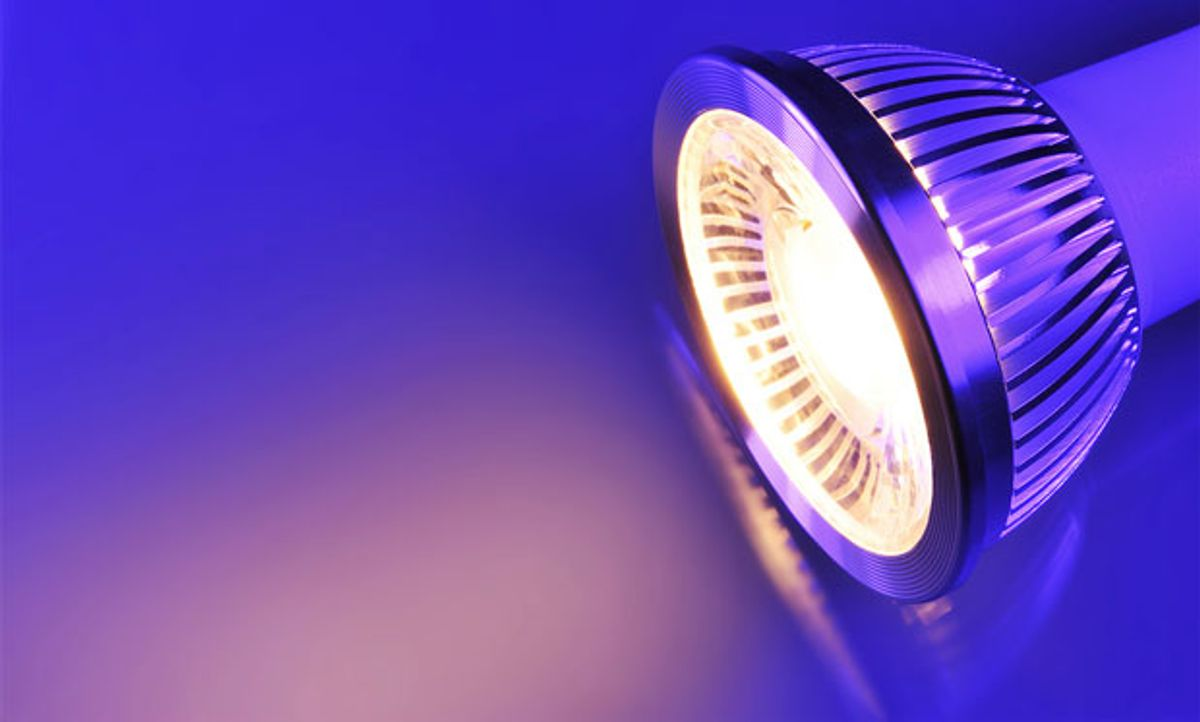 Image of a colorful LED light on a purple and blue background.