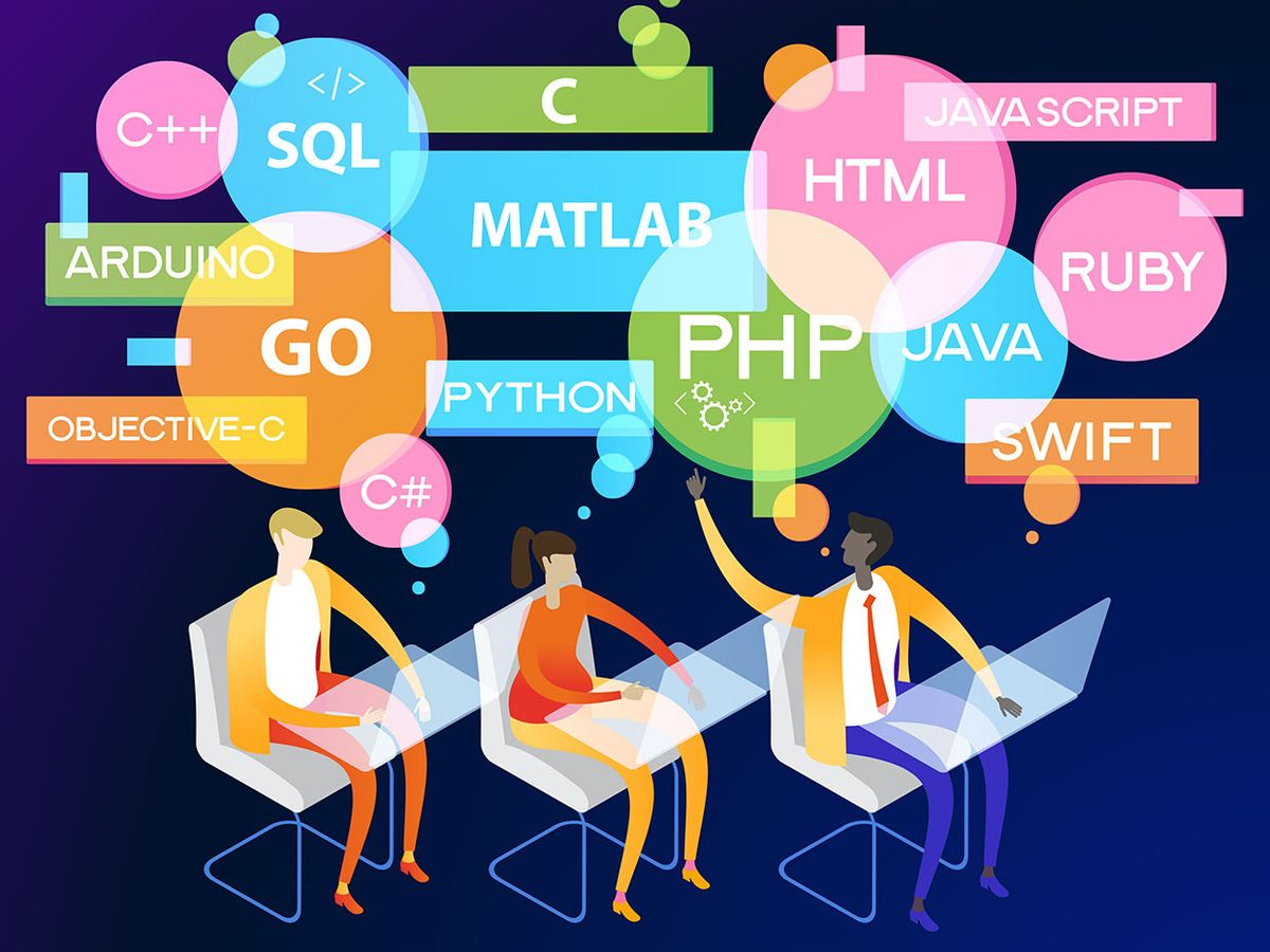Illustration showing three people sitting with computers with colorful thought bubbles showing many programming languages.