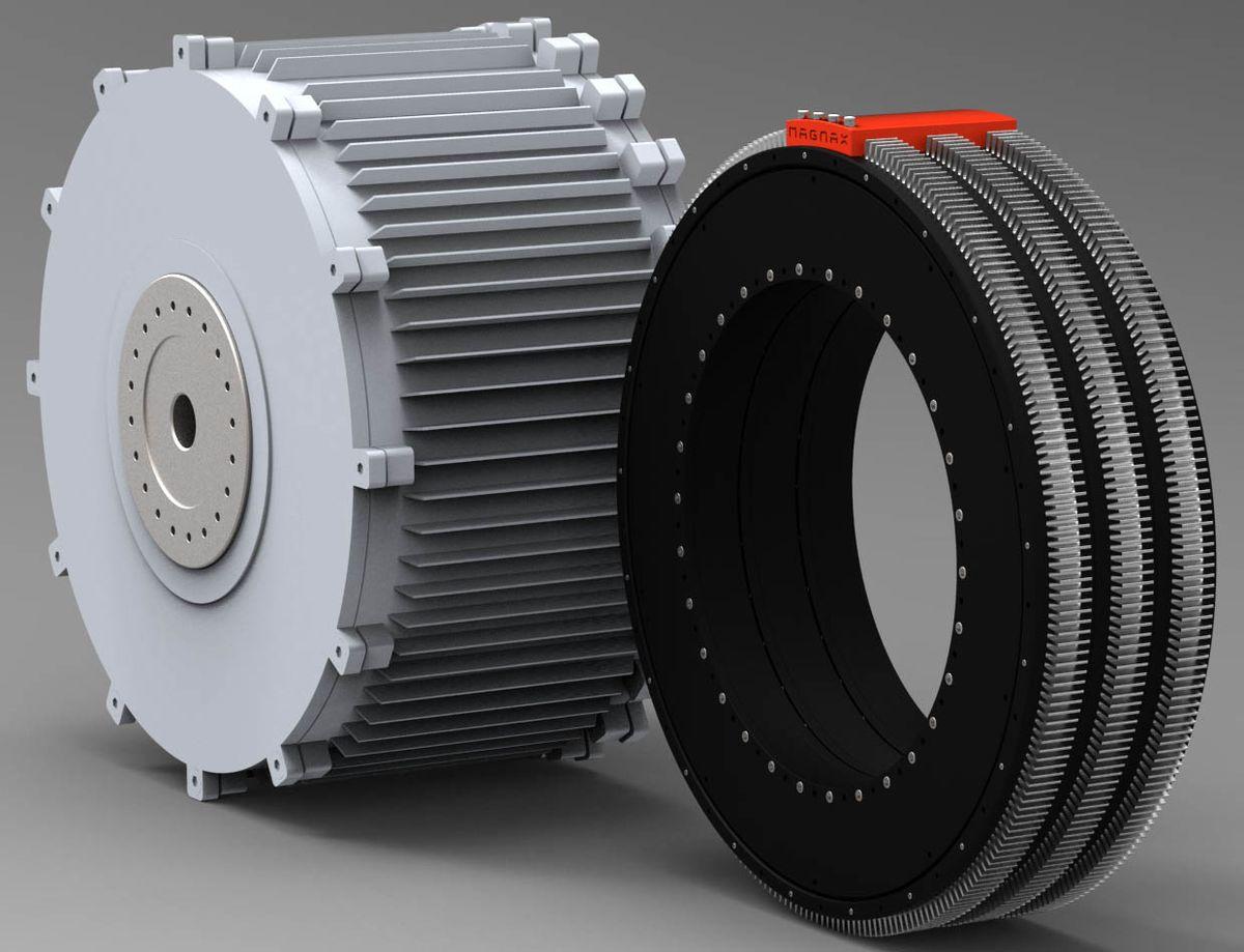 Illustration of Magnax machine vs a radial-flux machine.