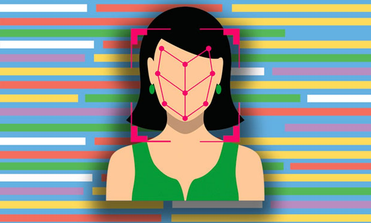 Illustration of person with her face being analyzed on an abstract code background.