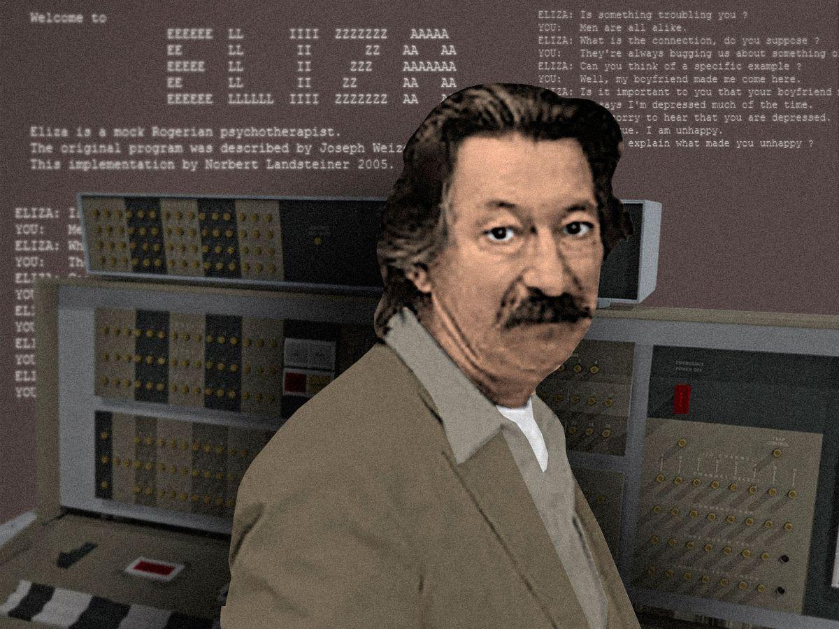 Computer scientist Joseph Weizenbaum with his chatbot Eliza, running on an IBM 36-bit IBM 7094 mainframe computer.