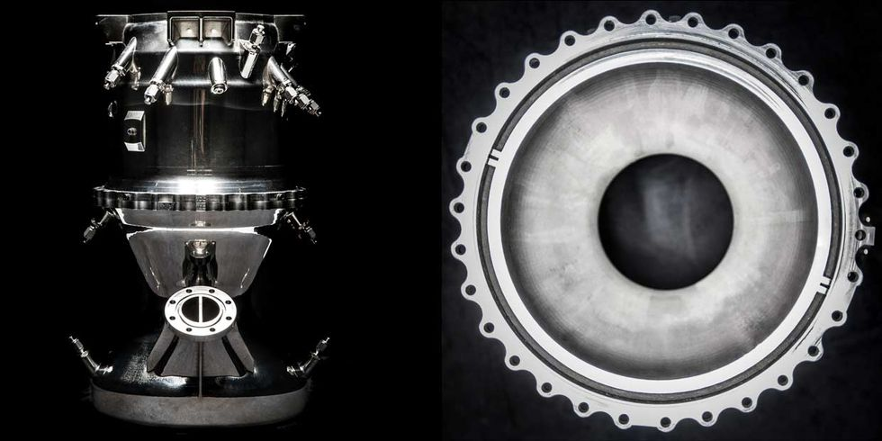 Image of Aeon engine, shown in side view (left) and from the bottom (right).