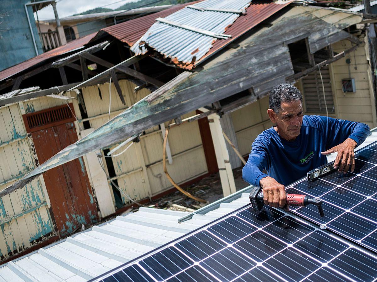 Installation of rooftop solar.