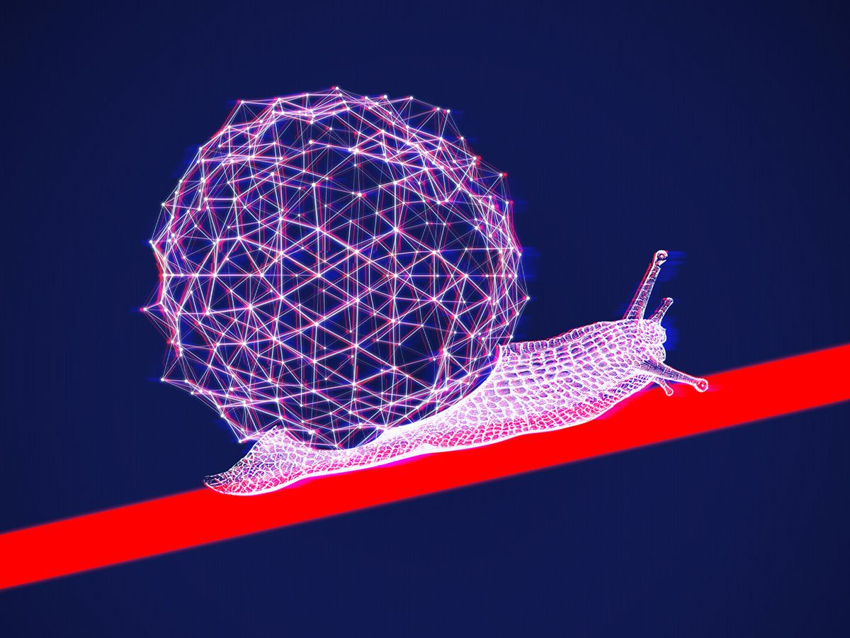 Illustration of AI snail moving up a graph line.