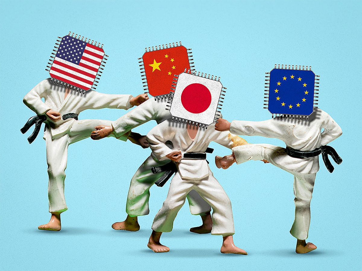 Photo-illustration depicting four country flags as martial artists.
