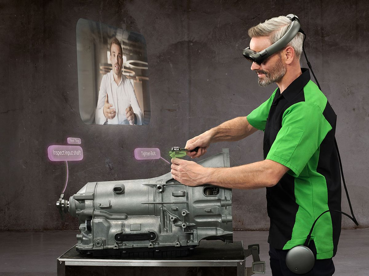 Demonstration image showing Magic Leap's technology used for industry.