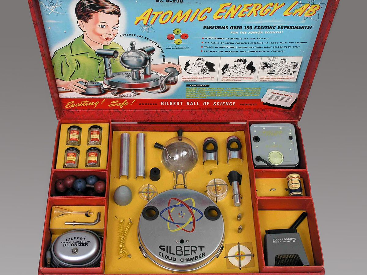 """Overhead photo of the boxed """"Atomic Energy Lab."""""""