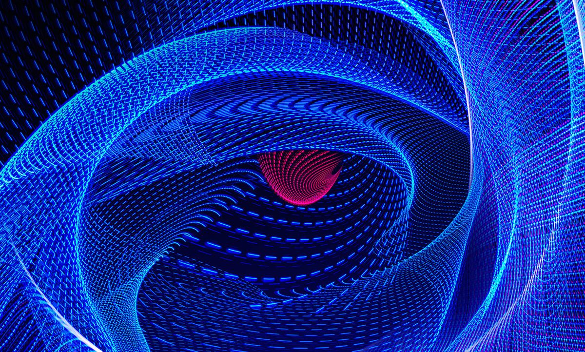 Abstract illustration of blue lines with a red eye