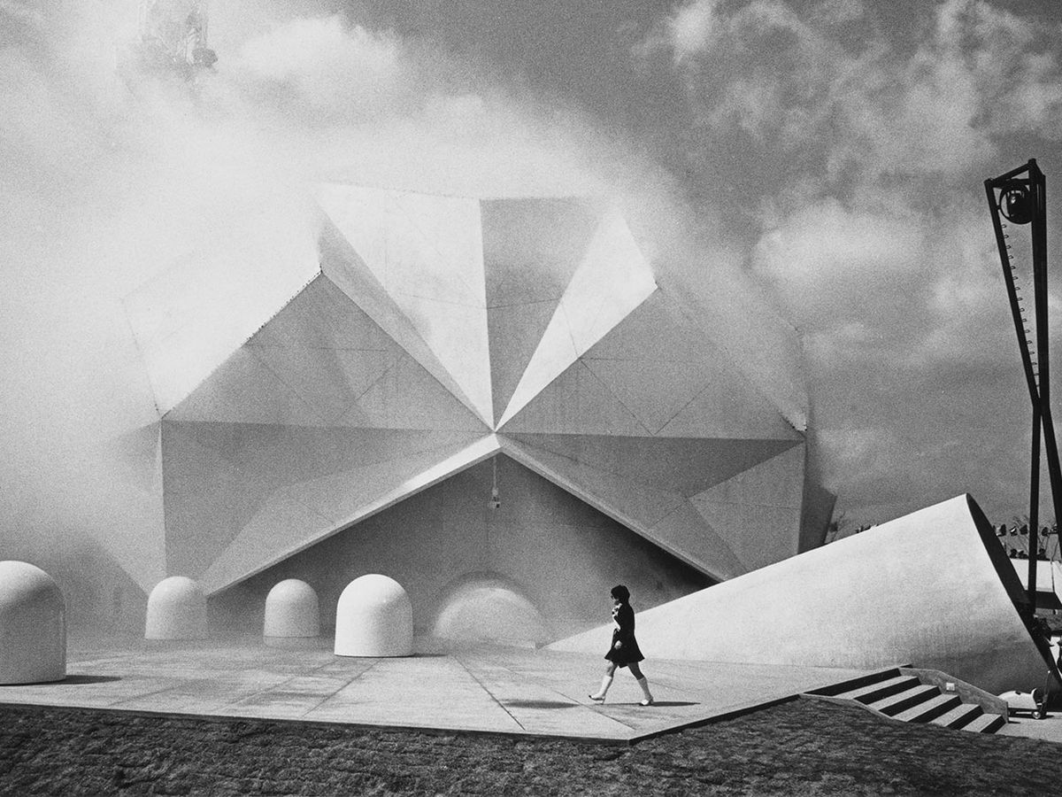 Artificial fog enshrouds the Pepsi Pavilion at Expo '70 in Japan.